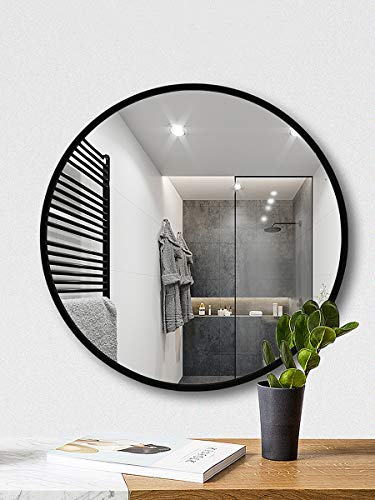 - TinyTimes Clean Large Wall Mirror, Round Vanity Mirror, Dresser Mirror, Wooden Black Frame, for Washrooms, Living Rooms, Bathroom, 19.69-inch Home Mirrors Decor