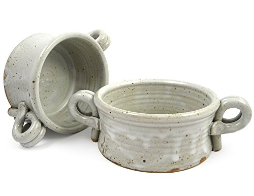 American Made Stoneware Bistro Bowl for Soup, Rice, or Pasta; Set of 2, 16-oz (White) (Handled Soup Mugs Set)