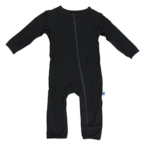 KicKee Pants Neutral Baby Onepiece Coverall Romper, Midnight Black, 18-24 Months (Snap Pajama Pant)