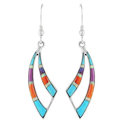 Turquoise Earrings Genuine Gemstones (CHOOSE STYLE) (Wavy Dangles)