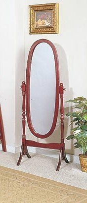 (Queen Anne Style Cherry Finish Wood Bedroom Floor Mirror )