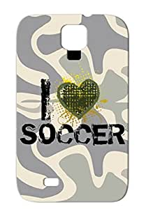 Black Heart Designs Soccer Hearts Mimer Heart Shape I Soccer Sports I Love Bleeding TPU Scratch-free For Sumsang Galaxy S4 Case