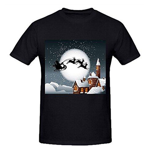 Santa Claus Graphic T Shirts For Men Crew Neck Black Funny