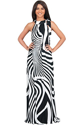 Abstract Print Dress (Koh Koh Womens Long Sleeveless Sexy Halter Neck Retro Print Flowy Casual Chic Summer Beach Sun Sundress Sundresses Gown Gowns Maxi Dress Dresses for Women, Black and White L 12-14 (1))