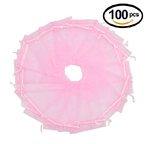 Wuligirl 100pcs Sheer Pink Organza Bags with Drawstring 5'' X 7