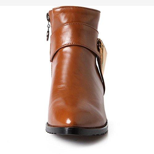 H H(Rosso, nero, marrone, beige) fibbia a cinghia punta a basso tacco di scarpe diamanti corti gomma antiusura resistente all'usura , red , 39
