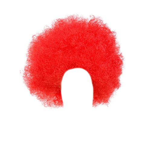 Gorse Halloween Costume Wig Cosplay Afro Clown Wig Party Funky Style for Men and Women (Red)]()