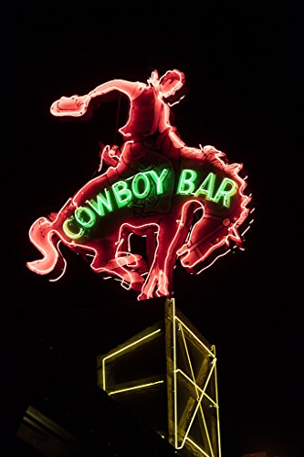 Million Dollar Cowboy Bar - Vintography 24 x 36 Giclee Print of Neon Sign of The Million Dollar Cowboy Bar in Jackson Hole Wyoming r23 42264 by Highsmith, Carol M,