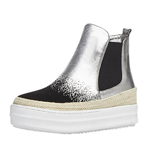 Carolbar Womens Pull-On Assorted Colors Comfort Platform Short Boots Silver exWKf2m