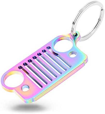16 Styles Optional HUSUKU Grill 3D Pink Metal Key Chain 304 Stainless Steel Keychain for Jeep Wrangler Enthusiasts Car Gift