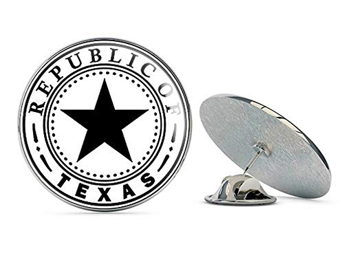 NYC Jewelers B/W Round Republic of Texas Seal (Vintage State Logo Old) Metal 0.75