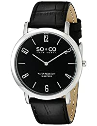SO & CO New York Men's 5043.2 Madison Analog Display Japanese Quartz Black Watch
