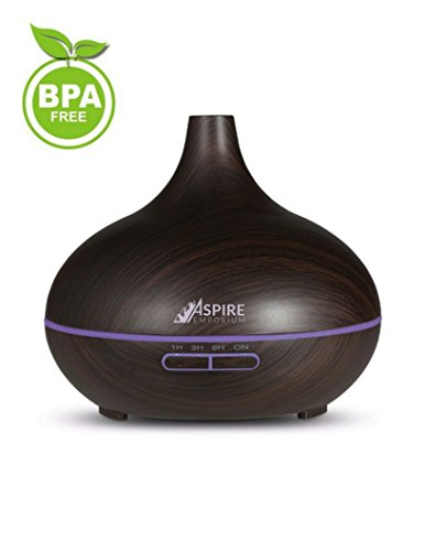 Price comparison product image Essential Oil Diffuser by Aspire Emporium, Dark Wood Grain Finish Ultrasonic Oils Diffusers, Best For Home, Office, Baby Room, Aromatherapy Diffuser, Aroma Humidifier With Cool Mist, 300 ML Capacity