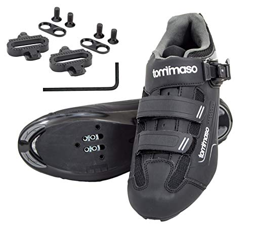 tommaso Strada 200 Dual Cleat Compatible Spin Class Ready Bike Shoe - SPD - 46 Black