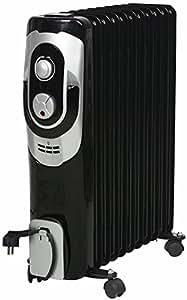 El Fuego® móvil eléctrico de aceite/eléctrico–Radiador eléctrico, con 11Elementos, 2500W, termostato, protección antivuelco + Protección contra sobrecalentamiento, con 4ruedas, Schwaz, AY 704