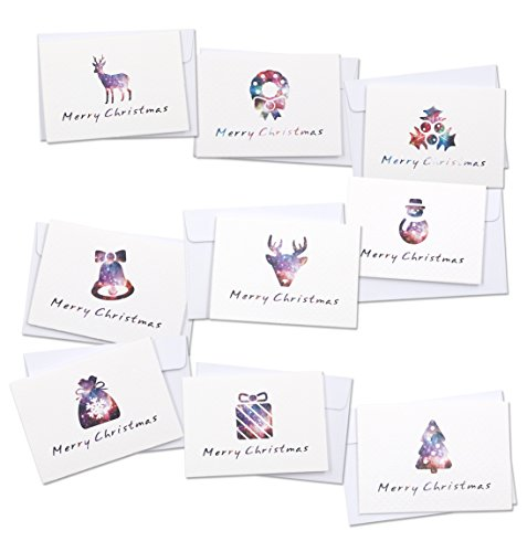 "Merry Christmas Greeting Cards, ALXCD 18 Pcs Foldable Small Size (3.375"" 2.375"") Greeting Cards & Envelopes for Christmas, Pack of 18"