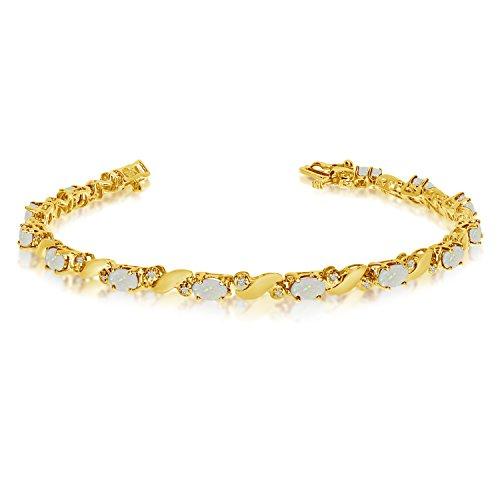 14k Yellow Gold Natural Opal And Diamond Tennis Bracelet (9 Inch Length) 14k Yellow Gold Opal Bracelets