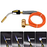 Vaorwne Braze Welding Torch Self Ignition 1.5M Hose Cga600 Connection Gas Torch Hand Propane Mapp Torch, 360° rotation of torch tube capable For soldering Brazing application in HVAC and plumbing