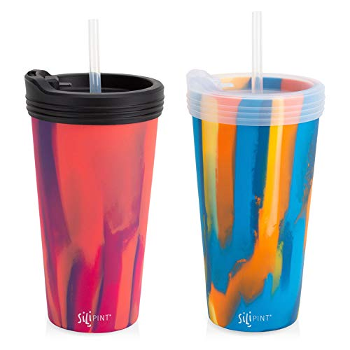 2-Pack Multi; Canyon Blues + Radberry Tumbler, 1 Black Lid, 1 Frosted Lid, 2 Frosted Straws