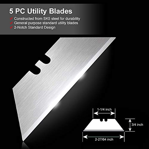 Box Cutters Utility Knives 2Pack, RegerKnife Carpet Razor Knife Heavy Duty with Belt Clip, Lock Back Design, Quick Change Blades, Extra 5 Blades for Cutting Cardboard, Leather, Aluminum, PVC Sheet