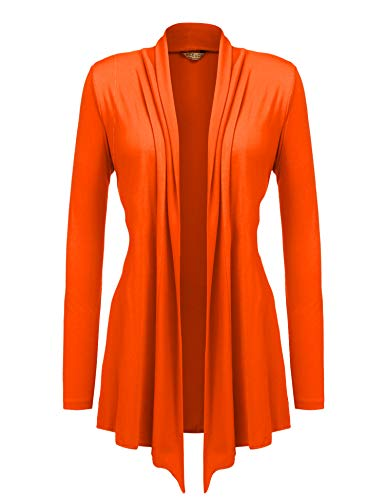 Jersey Dress With Cardigan - Beyove Women's Long Sleeve Jersey Cardigan S-3XL Orange M