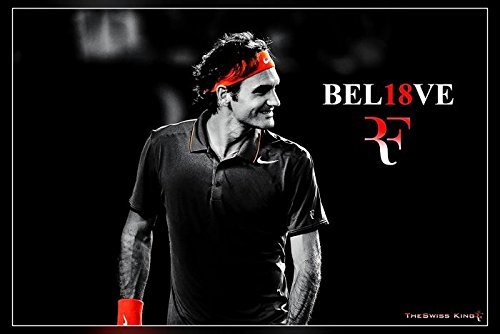 """Colors of Rainbow Roger Federer (Rolled) Poster, Matte Print 12 into 18"""""""