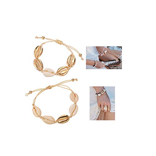 Softones 2Pcs Beach Shell Necklace Bracelet Anklet Set for Women Girls Summer Handmade Bracelets Ankle Bracelet Adjustable