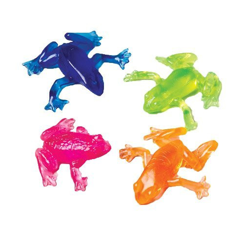 Lot Of 12 Assorted Color Stretchy Sticky Frog Toys (Stretchy Frogs Sticky)