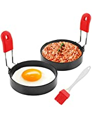 HEROPIE Non Stick Egg Ring, 100% Food Grade Egg Rings Mold with Silicone Handle, Professional Stainless Steel Egg Cooking Rings Set for Frying Eggs Griddle Blackstone Pancake