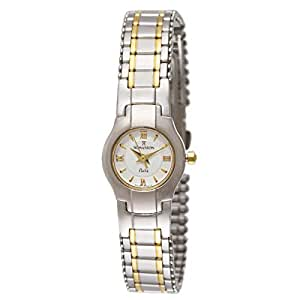 Romanson Women's White Dial 2 Tone Stainless Steel Band Watch - Round - NM7620L-2T