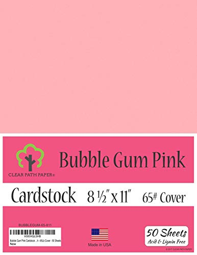 (Bubble Gum Pink Cardstock - 8.5 x 11 inch - 65Lb Cover - 50 Sheets)