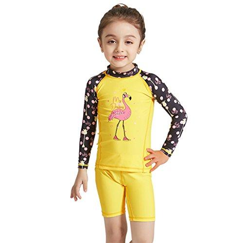 Gogokids Bébé Filles Maillot de Bain - Enfant Manches Longues Vêtements Anti-UV Combinaisons Humides
