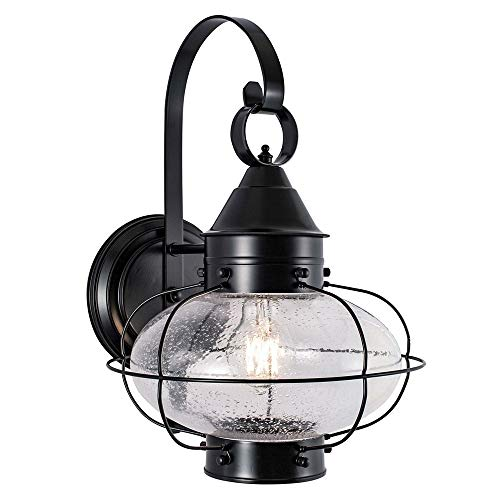 - Norwell Lighting 1324-BL-SE Cottage Onion - One Light Outdoor Medium Wall Lantern, Black Finish with Seedy Glass