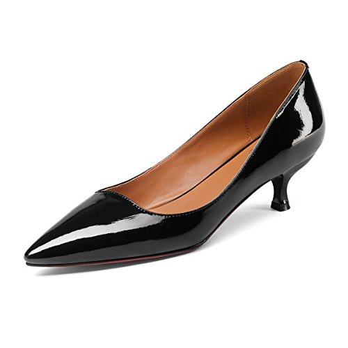Pompe Padent Lavoro Black Scarpe A Womens EU Party Heels UK 34 Evening Leather Spillo Prom Court Wedding 2 Ufficio Kitten Shoes SYdqzaY