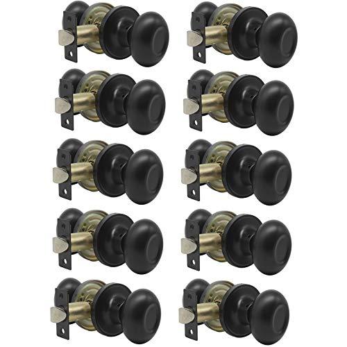 Probrico Passage Door Knobs Handles Interior Hall/Closet Keyless Egg Style Locksets, Oval Door Knob in Flat Black Finish 10 Pack