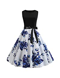 KpopBaby Dress for Women, Vintage Retro 2019 Summer Elegant Hepburn Dress S-XXXL