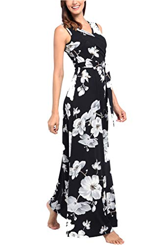 Comila Floral Dresses for Women Casual Beach Holiday, Sexy Warp V Neck High Waist with Bow Fashion Vintage Floral Printed Sleeveless Casual Tank Dress with Pockets Black M(US8-10) by Comila (Image #2)