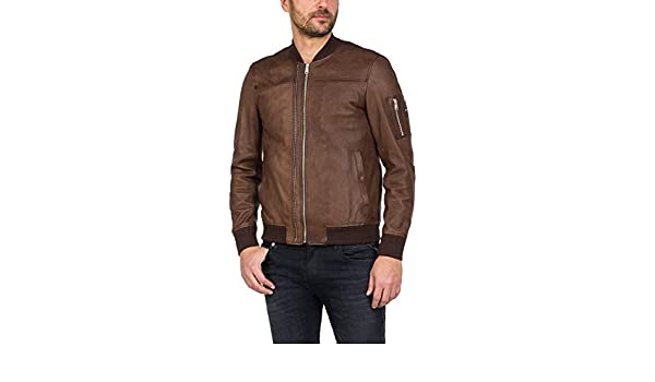 Replay Mens Leather Bomber Jacket Brown in Size Medium at Amazon Mens Clothing store: