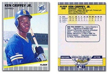 - 1989 Fleer Baseball Rookie Card #548 Ken Griffey Jr. Mint