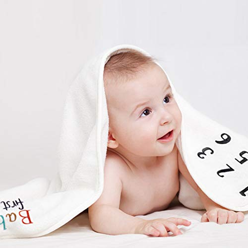 SUNVITO Baby Monthly Milestone Blanket | Plush Organic Baby Photo Blanket for Baby Boy Girl | 1 to 12 Months | Large 47Inch x 39Inch | Baby Month Blanket for Newborn Baby Shower