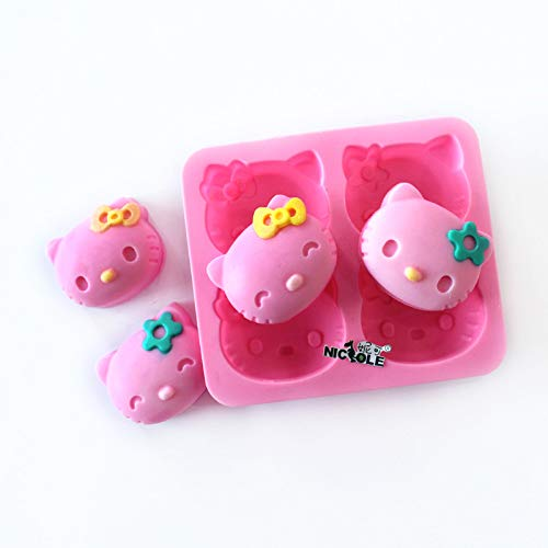 Mold Cavities Candy 4 - Nicole Soap Molds 4-Cavity Hello Kitty Silicone Mold DIY Chocolate Candy Mold Jelly Pudding Cake Baking Tools