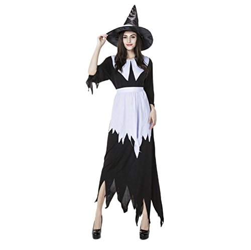 Buzz Lightyear Costume Female (Women Halloween Classic Black Witch Costume with Cap Black)