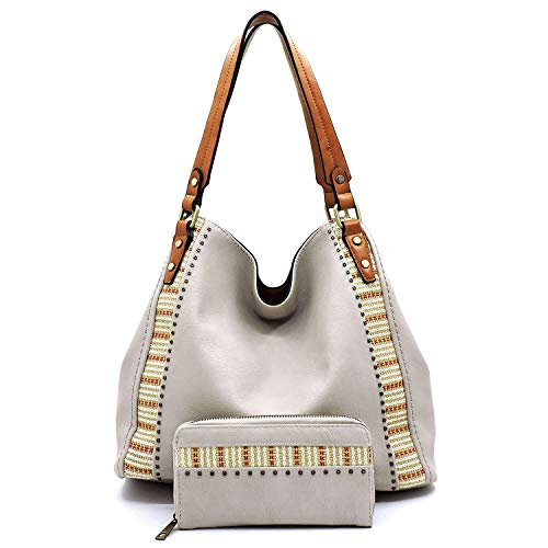 Vegan Faux Leather Straw Stripe Trim Easy Carrying Hobo Shoulder Purse with Matching Wallet -