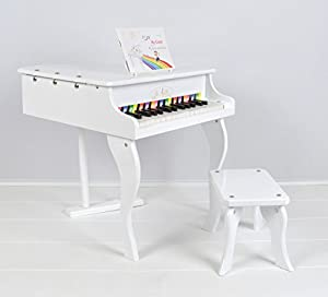 Kids piano mini grand piano with 30 wooden keyboards and music stool - white - children music instrument  sc 1 st  Amazon UK & Kids piano mini grand piano with 30 wooden keyboards and music ... islam-shia.org