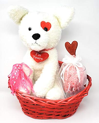 JGT Deluxe Basket Set, Red Oval Willow Basket, White Plush Dog, Valentines Vase, Valentines Candy, in A V-Day Gift Bag for Her, Wife, Girlfriend