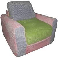 Fun Furnishings Chair Sleeper, Pink Lilac Green Chenille