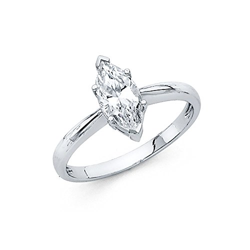 14k White Gold Marquise CZ Solitaire Engagement Ring Anniversary CZ Single Stone Band Women Size 8.5