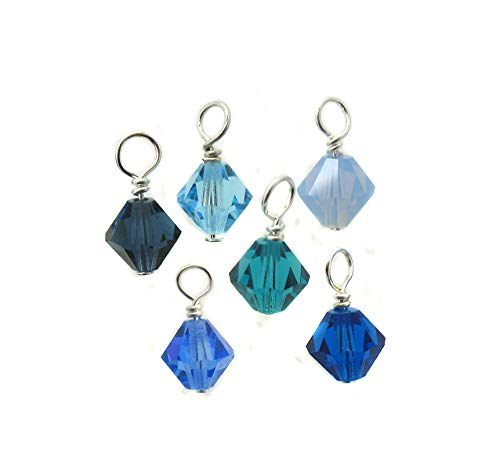 Blue Crystal Bead Charms - 6mm Preciosa glass bicone bead dangles - Aqua Turquoise Dangle Charms for Charm Bracelets - Set of 10 Charms