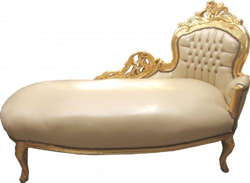 Casa Padrino Barock Chaiselongue Creme / Gold Lederoptik - Recamiere Liege Lounge