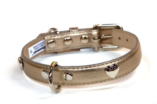 - Bluemax Genuine Leather Metallic Cow Dog Collar with heart stud, 3/4-Inch by 14-Inch, Pewter
